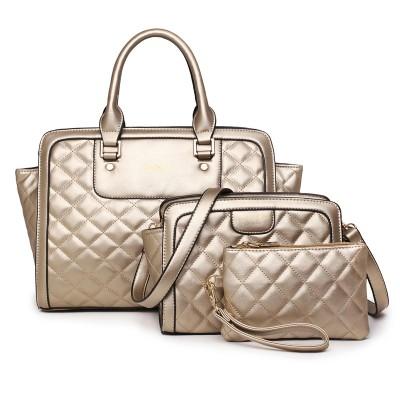 Gold big crossbody bags for women handbag 3 sets solid color pu leather tote bag large shoulder bags ladies purses and handbags
