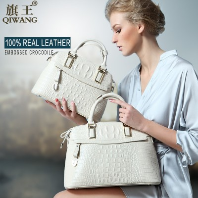 Qiwang Classic Crocodile Women Bag Big Brand Luxury Elegant Top-handle Bags Fashion Women Designer Handbags Female Bag on Sales