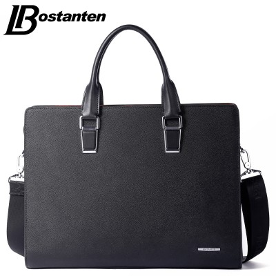 Bostanten New Men Split Leather Briefcase Laptop 13 inch Men Briefcase Business Bag Male Shoulder Bag Crossbody Bag Tote Handbag