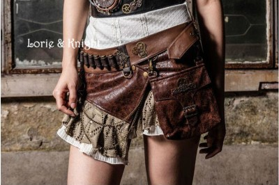 Rock Brown PU Steampunk Gothic bag Goth Shoulder Waist Bags Packs  Knight Style Women Men leg Thigh Holster Bag Punk Skirt