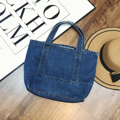New Pattern Fashion Large Capacity Single Shoulder Handbag Concise Casual Tote Denim Bag Women