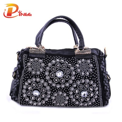 Rhinestone Handbags Designer Denim Handbags Women Fashion Handbags Rhinestones Women's purses and Ladies Handbags High Quality PU + Denim