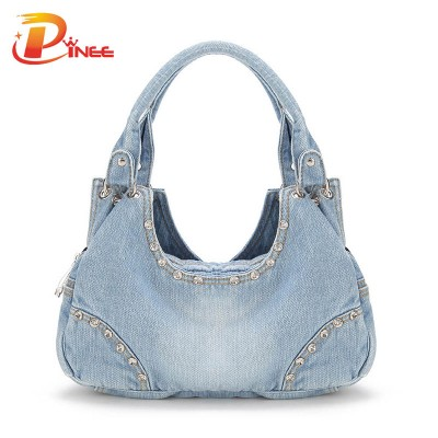 Vintage Denim Shoulder Handbags 2019 New Women Denim Bags Sweet High Quality Handbags With Diamond Ladies Tote Bag Messenger Bags
