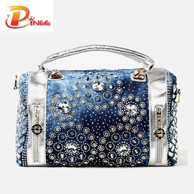 Rhinestone Handbags Designer Denim Handbags Summer fashion women handbags designer diamond decoration oxford tote bags casual ladies purse beach bag