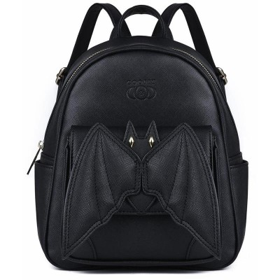 Backpack with Wings Steampunk Gothic 3D Bat Small Mini Backpack For Teenagers Girls boys Stylish Black Bat Wing Backpack PU Leather Daypack