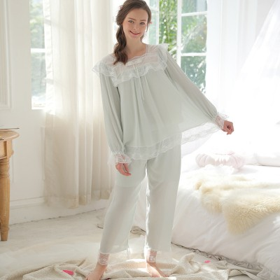 Women Pajama Set Cotton Nightwear Spring Autumn Long Sleeve Nightgown Pyjamas Pink Sleepwear Negligee Female Pijamas Mujer
