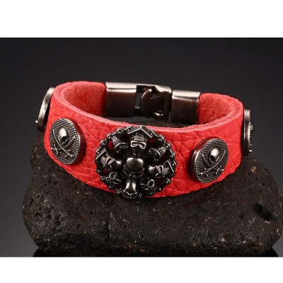 Punk Rock Bracelets Antique Metallic Skull Gothic Strap Red Leather Wristband Adjustable Snap Button for Male Female Jewelry