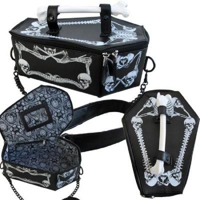 Steampunk gothic vampire bone coffin bag skull skeleton womens chain crossbody box bags rpo6 tote bat harajuku cosplay handbag