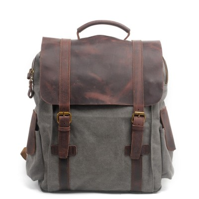 New Vintage Large Crazy Horse Leather + Canvas Backpack for Men Teenagers School Back Pack Women Laptop Bagpack Travel Bags 2019
