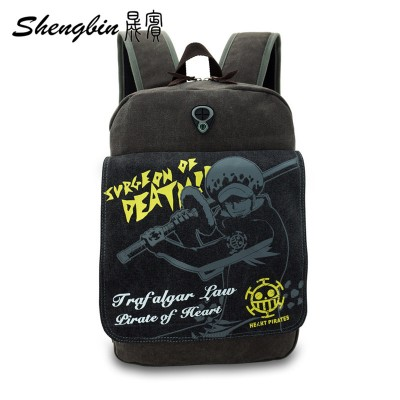 Cosplay Bag Anime One Piece Law Backpack Manga Canvas Children Schoolbags Cartoon Durable High Quality One Piece Men's Cosplay Backpack