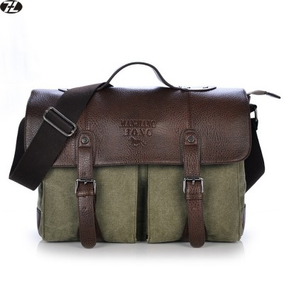 leather+canvas man handbags tote vintage business men messenger bags shoulder crossbody Laptop bag bolsa feminina briefcase
