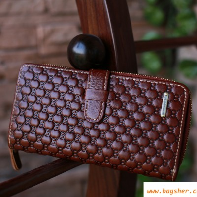 2 Fold Brown Leather Wallet Purse