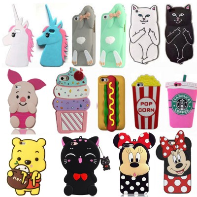 3D Cartoon Fashion Soft Silicone Phone Back Case Cover Skin Shell For Apple iPhone 5 5S 5C SE 6 6S 6 Plus 6S Plus iPhone 7 7Plus