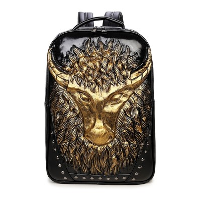Gothic Steampunk Unique backpack cool bag steampunk fashion Women Mens 3D Tauren Backpack Rivet Emboss Shoulder Bag Animal Backpack Leather Bags