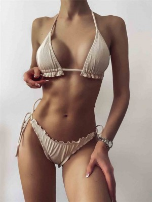 Sexy Ribbed Bikinis Women's Swimsuits Micro Ruffle Swimwear Push Up Biquini Strap Halter Bathing Suits 2021 Solid Bow Beachwear