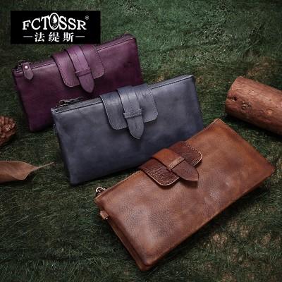2019 Women Bag Handmade Vintage Genuine Leather Casual Clutch Cow Leather Handbag