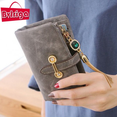 BVLRIGA Wallets women short abrazine famous brands wallets high quality purses money clip tassel fashion casual designer brand