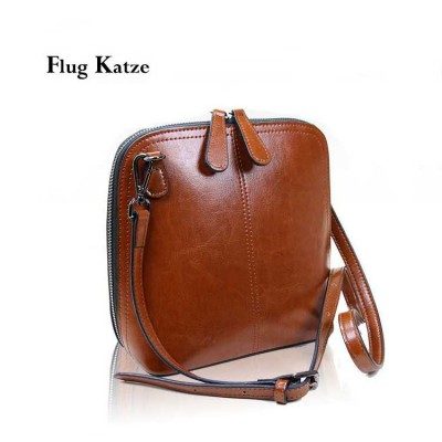 women new stylish retro Genuine leather mini shoulder slung diagonal shell small leather bag