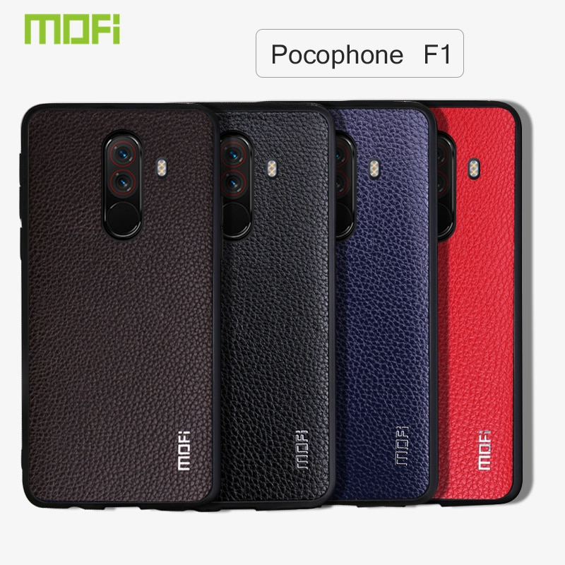 Xiaomi Pocophone F1 Case Mofi Business Hard Back Cover Pu Leather Phone Case for Xiaomi  Pocophone F1 Case Cover