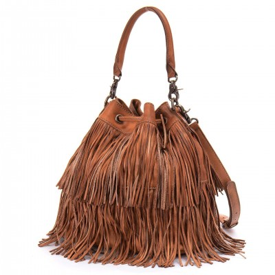 Vintage Small bucket women tote bag tassels genuine leather bag women messenger bags famous brand designer handbags high quality