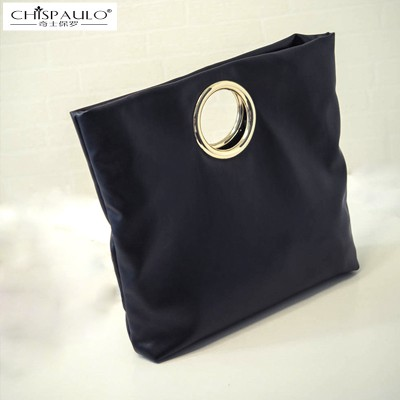 CHISPAULO2019 autumn new European and American minimalist folding clutch handbag shoulder messenger bag ring