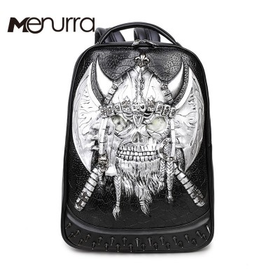 3D Skull Laptop Notebook Backpacks for teenagers Cool Men's Backpack Large PU Leather Backpack With Rivet Special mochila