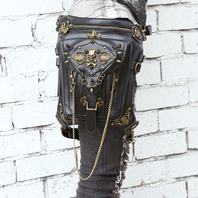 Fashion Gothic Steampunk Skull Retro Rock bag Men Women Waist Bag Shoulder Bag Phone Case Holder women messenger Bag 2019