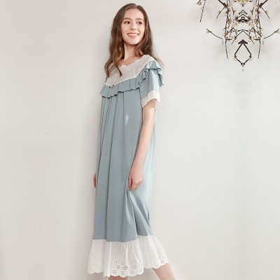 New Nightgown Women Short Sleeve Sleep Wear Lovely Sweet Princess Long Cotton Lady Night Skirt Clothes Sleepwear Vintage