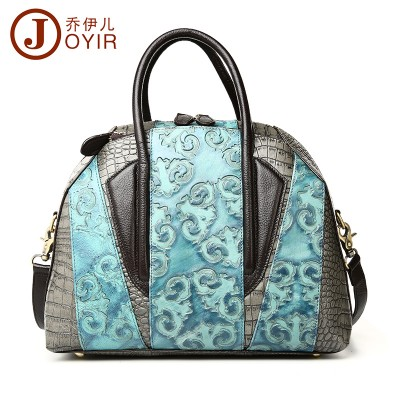 Luxury Brand Vintage Cow Leather Shell Bag Women Embossed Leather Patchwork Handbag Fashion Floral Crossbody Bag Totes Blue 2019