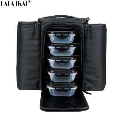 Brand Cooler Bag Thermal Food Bag With 5 Plastic Box Insulated Large Capacity Multi-function Lunch Box bolsa termica YIN0346-5