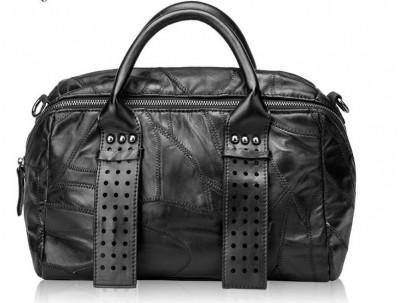 Fashion patchwork sheepskin women handbag  genuine leather shoulder bag black color rivet messenger bag punk style bag