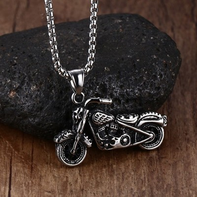 Mens Vintage Gothic Ghost Rider Pendants Stainless Steel Motorcycle motor bike Pendant Necklace