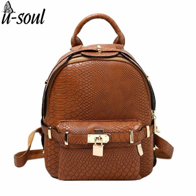 Mini Backpack Leather Female Lock Backpacks Casual Shoulder Bag School Bag For for Ladies Girl Teenager Back Pack