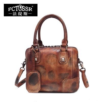 2019 Genuine Leather Women Handbag Vintage Women Shell Bag Top-Handle Women Messenger Bag