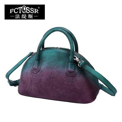 2019 Women Handbag Genuine Leather Shoulder Bag Handmade Vintage Cow Leather Women Shell Top-Handle Bags