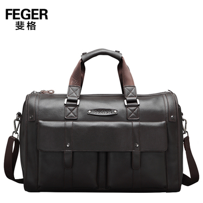 FEGER Brand Dark Brown Genuine Leather Handbag Super Large Capacity Men's Business Travel Duffle Bag