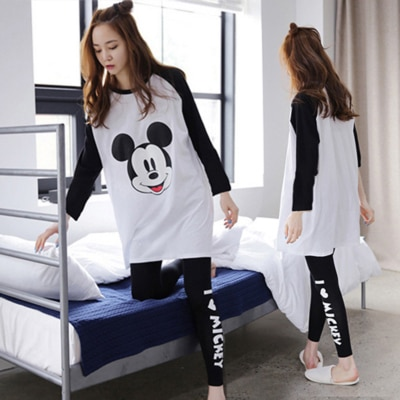 Womens Thin Pajama Sets Long Sleeve Sleepwear lovely Pyjamas Cartoon Nightwear Pajamas Tops Pants trousers