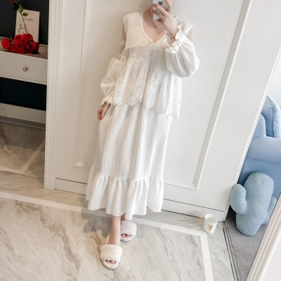 SONG Princess Lace Sexy Robe Sweet Robe Set Woman Spring Lace Sleepwear Dressing Gown