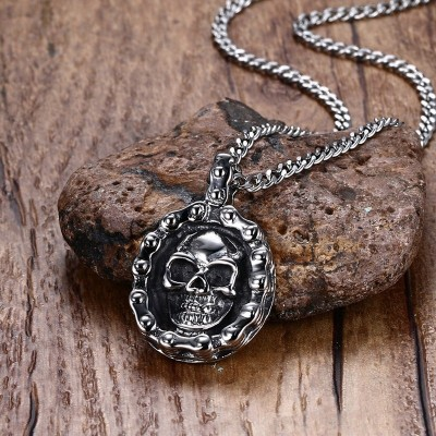 Mprainbow Mens Bike Necklaces Stainless Steel Vintage Skull Motorbike Chain Pendant Necklace for Men Boy Punk Style Jewelry 2019