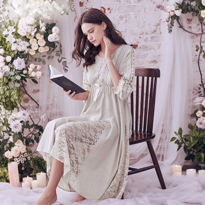 Sweet Nightgown Elegant Woman Longuette Night Dress Sleepwear