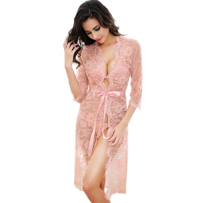 Women Robe Sexy Lace Bridesmaid Robes Long Sleeve Bathrobes Femme Nightie Gown Kimono Womens Pajamas Wedding Sleepwear PINK