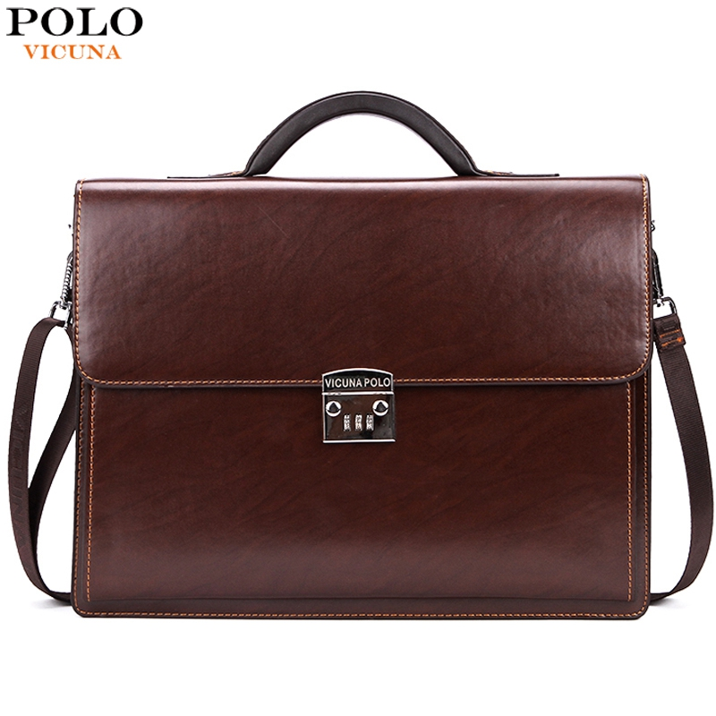 3bad5272613 VICUNA POLO Famous Brand Luxury Office Business Mens Briefcase Bag With  Coded Lock Large Size Leather Briefcase Business Man Bag