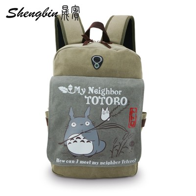 Cosplay Bag 2019 New Anime My Neighbor Totoro Printing Backpack Canvas Teenagers Schoolbags Cartoon Travel Durable Men's Cosplay Backpack