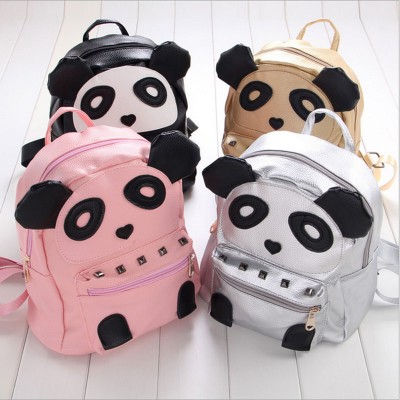 New 2017 Kids Cute Panda Backpack Fashion PU Leather Backpack with Rivet School Bags For Girls Children Backpacks Kindergarten