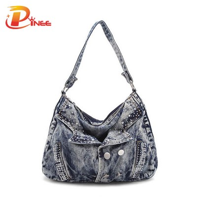 Vintage Denim Shoulder Handbags Women Fashion Bags Famous Brand Ladies Denim Handbag Small Crossbody Bag for Women Casual Motorcycle Bag Woman