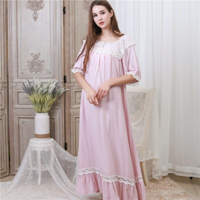 Elegant Sleepwear Women Nightgown Sleep Shirt Night Dress Vintage Princess Home Wear Nightwear Plus Size Nightdress Ladies
