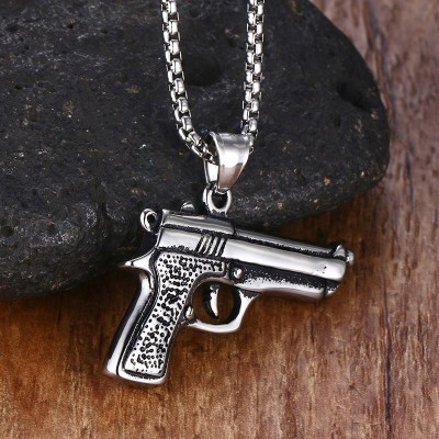 Fashion Mens Necklaces Pendants Stainless Steel Hip-hop Machine Gun Pendant Necklace for Men Boy Bike Punk Choker Colar Jewelry