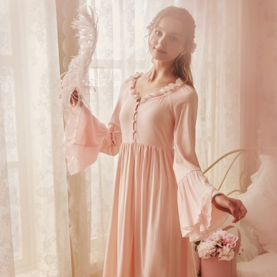 Elegant Nightdress Female Spring Court Retro Pajamas Long Sleeve Homewear Night G Women