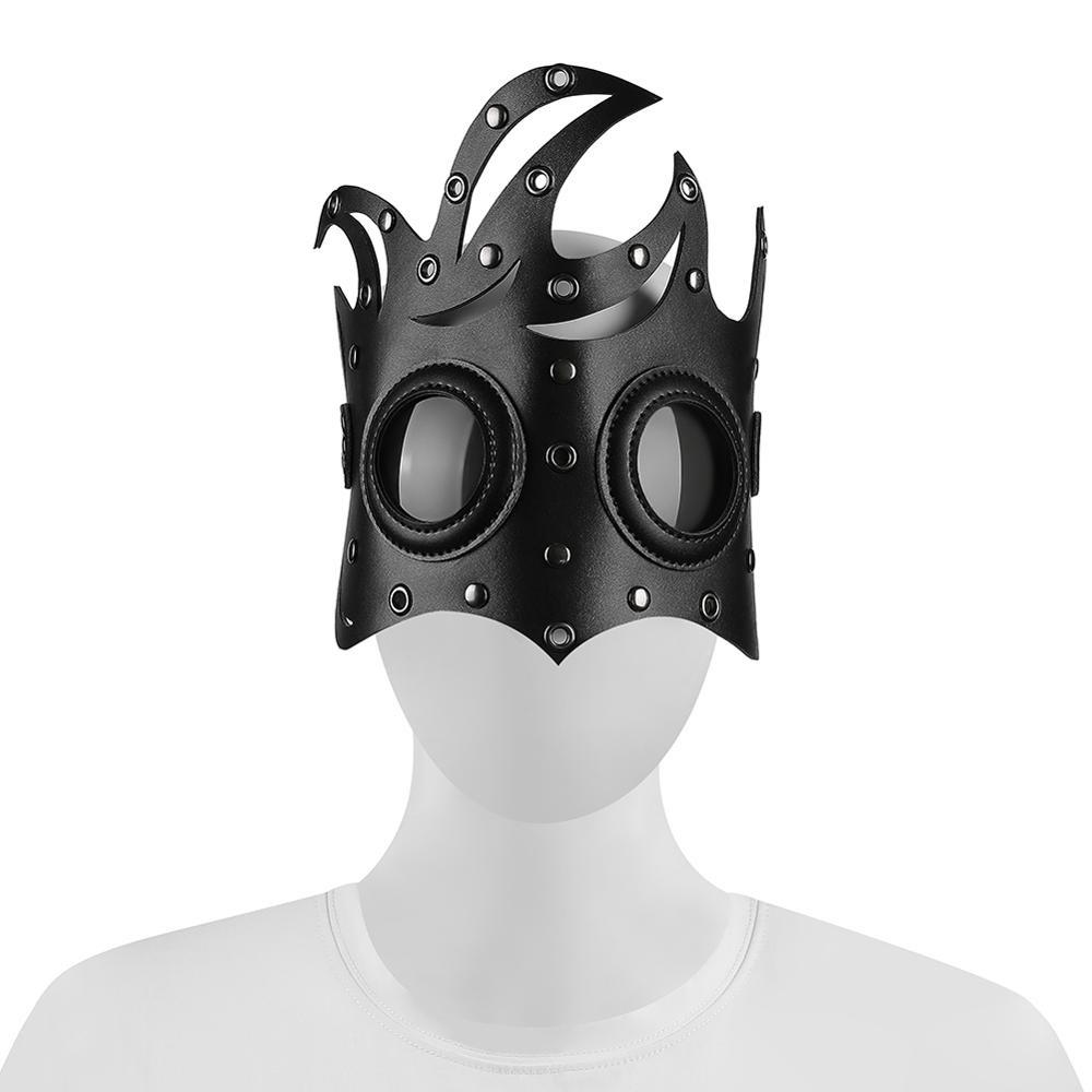 Original New Women Punk Rock Rivet Leather Mask Personality Motobike Mask Halloween Party Steampunk Mask