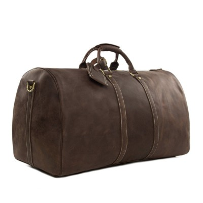 ROCKCOW Large Vintage Retro Look Genuine Leather Duffle Bag Weekend Bag Men's Handbag 12027